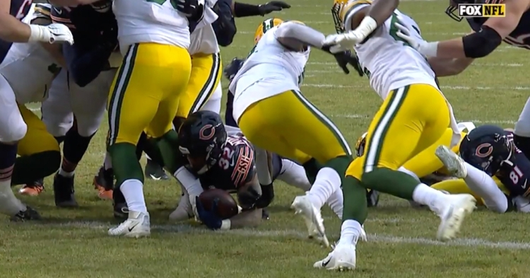 David Montgomery scored on the opening drive after hyperextending his knee earlier in the possession.