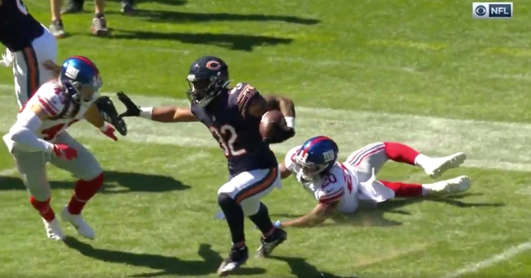 Bears running back David Montgomery scored from 28 yards out on a third-down pass play.