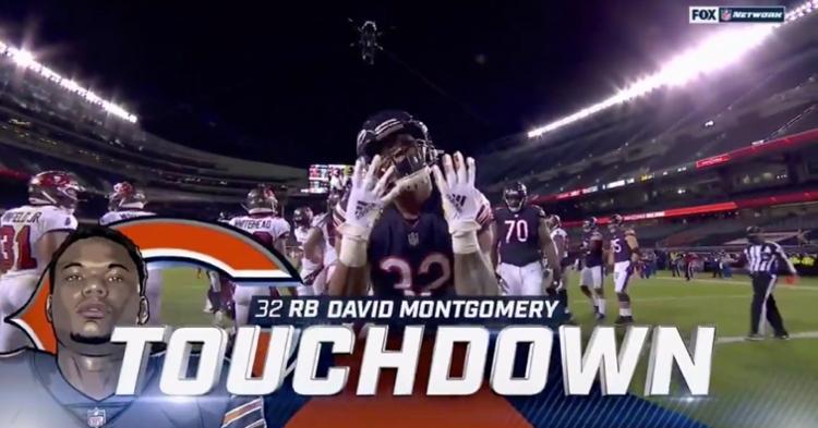 David Montgomery honored injured Bears running back Tarik Cohen after scoring the touchdown.