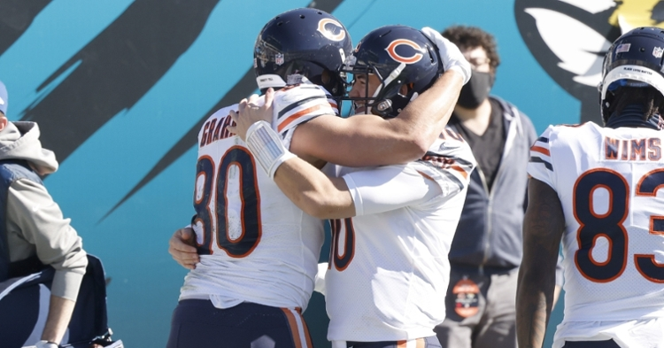 Trubisky and Graham celebrate after a score (Reinhold Matay - USA Today Sports)
