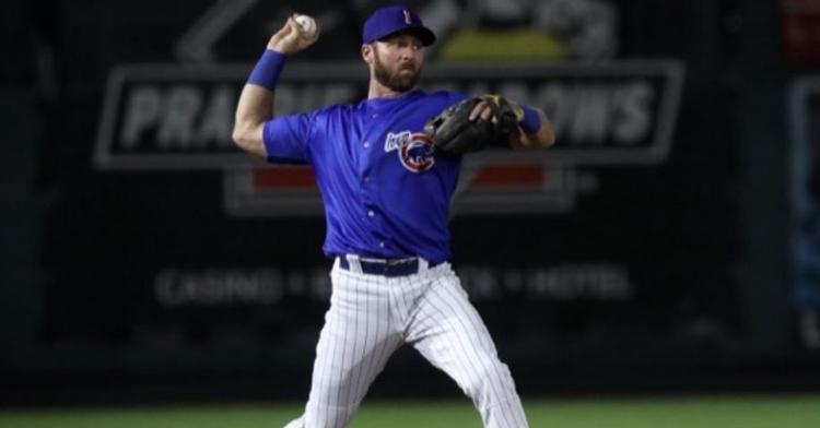 Romine had three hits in the loss (Photo via Iowa Cubs)