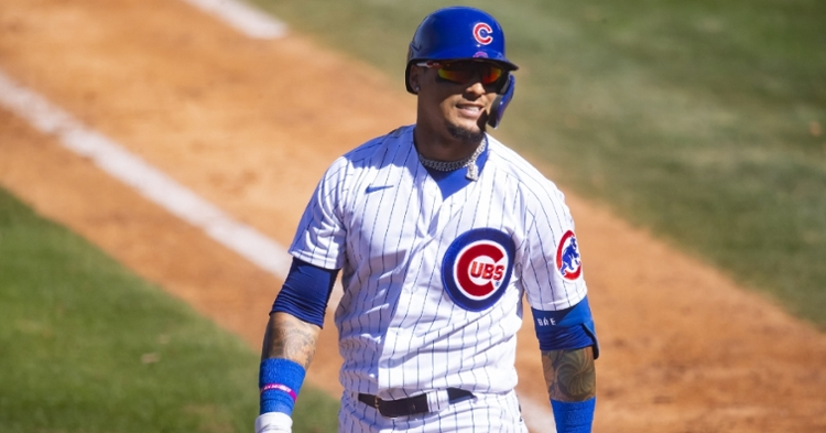 Baez left the game after being hit by a pitch (Mark Rebilas - USA Today Sports)