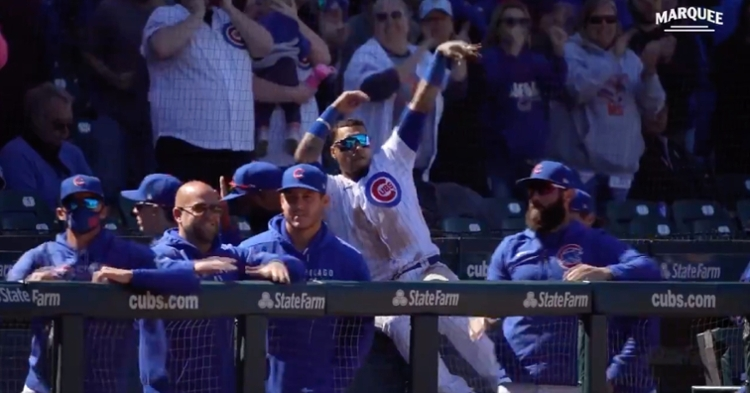 """Javier Baez let Amir Garrett know that he """"air-balled"""" his shaky outing on the mound."""