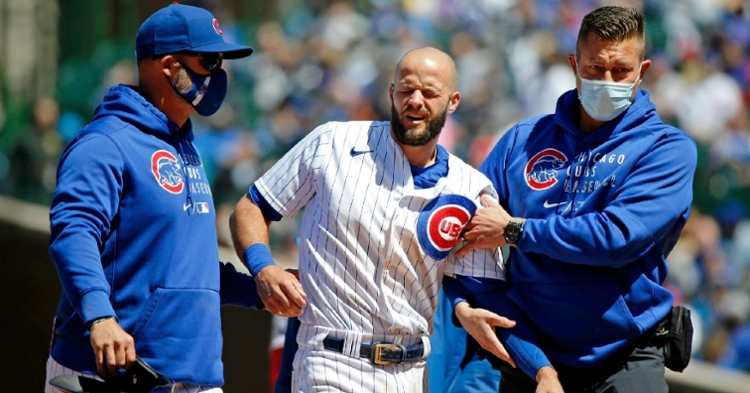 David Bote, the Cubs' primary starting third baseman so far this season, is currently batting .194 with five home runs and 23 RBIs. (Credit: Jon Durr-USA TODAY Sports)