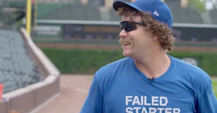 """While wearing his signature """"FAILED STARTER"""" T-shirt from Obvious Shirts, Andrew Chafin had a blast telling """"dad jokes."""""""