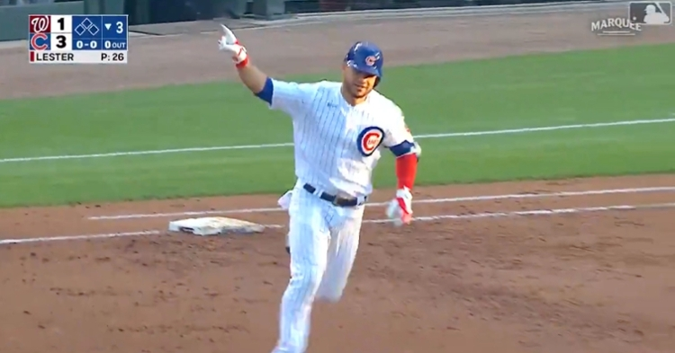 Willson Contreras batted a leadoff bomb off Jon Lester in Lester's first start back at Wrigley Field.