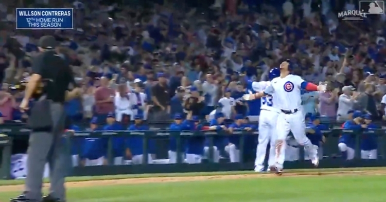 Willson Contreras hit the first of two back-to-back home runs for the Cubs in the eighth inning.