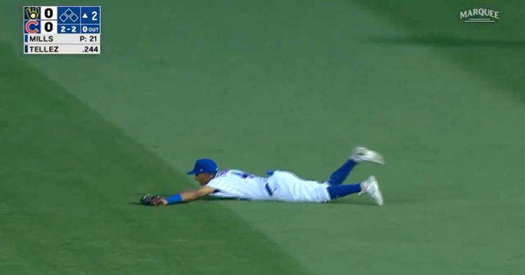 Johneshwy Fargas laid out and hauled in a stellar diving catch in right field to rob the Brewers of a leadoff hit.