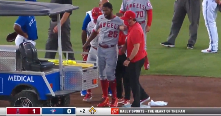 Former Cubs outfielder Dexter Fowler, who currently plays for the Angels, was carted off the field after suffering a knee injury.