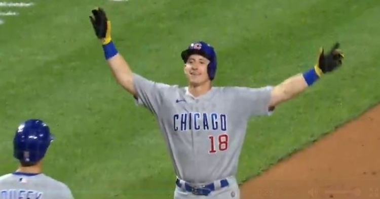 WATCH: Frank Schwindel homers in front of 70 friends and family behind Cubs' dugout