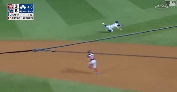 Nico Hoerner flashed the leather by pulling off a spectacular diving stop on the outfield grass.