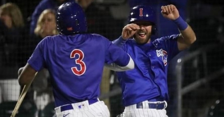 The I-Cubs were happy after their offensive explosion (Photo via Iowa Cubs)