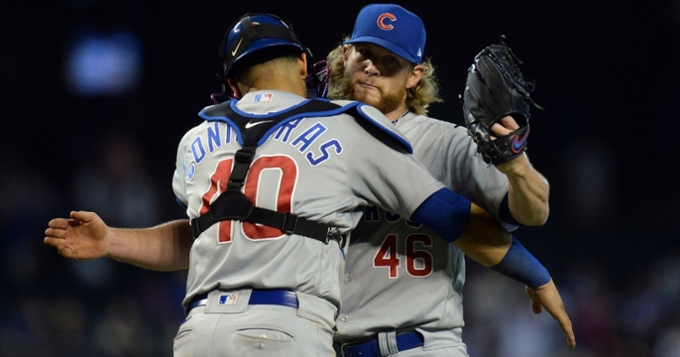 Contreras and Kimbrel celebrate after the win (Joe Camporeale - USA Today Sports)