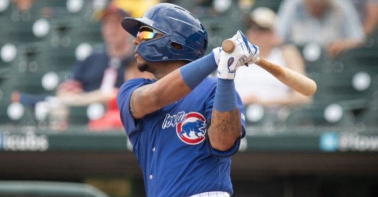 Ladendorf had two hits including a homer in the loss (Photo via Iowa Cubs)