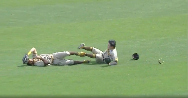 Padres players Ha-Seong Kim and Tommy Pham collided with one another while trying to catch a popup.