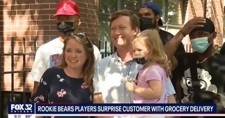 Adam Lindgren and his family were the lucky recipients of a surprise visit from Justin Fields and other Bears rookies.