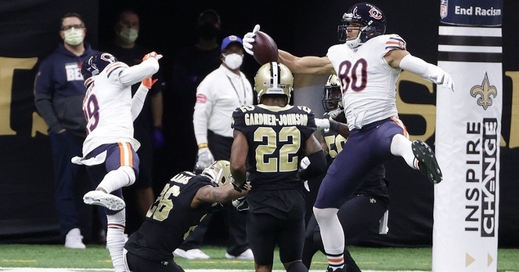 Tight end Jimmy Graham scored the Bears' only touchdown of the contest on the game's final play. (Credit: Derick E. Hingle-USA TODAY Sports)