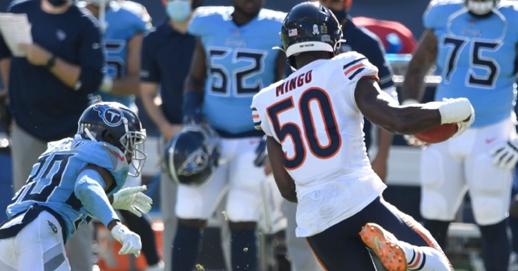 Veteran outside linebacker Barkevious Mingo played for the Bears in 2020. (Credit: George Walker IV / Tennessean.com via Imagn Content Services, LLC)